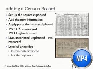 Watch Geoff Live: Adding a Census Record by Geoff Rasmussen